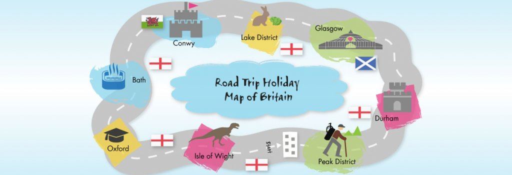 Map Of England Over Time.Road Trip Holiday Map Of Britain Sheilas Wheels